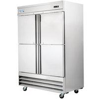 "Avantco SS-2R-4-HC 54"" Stainless Steel Solid Half Door Reach-In Refrigerator"