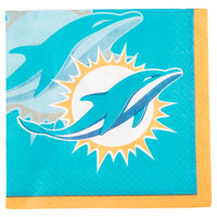 Creative Converting 659517 Miami Dolphins 2-Ply Beverage Napkin - 192/Case
