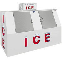 Leer 75CSL 96 inch Outdoor Cold Wall Ice Merchandiser with Slanted Front and Stainless Steel Doors