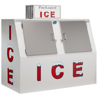 Leer 60ASL 73 inch Outdoor Auto Defrost Ice Merchandiser with Slanted Front and Stainless Steel Doors