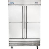 Avantco SS-2F-4-HC 54 inch Stainless Steel Solid Half Door Reach-In Freezer
