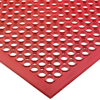 San Jamar KM1200 EZ-Mat 3' x 5' Red Grease-Resistant Floor Mat with Beveled Edge - 1/2 inch Thick