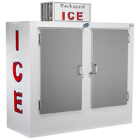 Leer 64AS 64 inch Outdoor Auto Defrost Ice Merchandiser with Straight Front and Stainless Steel Doors