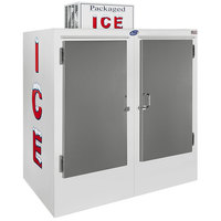 Leer 64CS 64 inch Outdoor Cold Wall Ice Merchandiser with Straight Front and Stainless Steel Doors