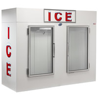 Leer 100AG 94 inch Indoor Auto Defrost Ice Merchandiser with Straight Front and Glass Doors