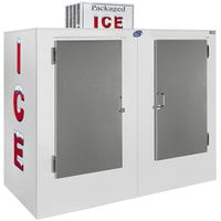 Leer 85CS 84 inch Outdoor Cold Wall Ice Merchandiser with Straight Front and Stainless Steel Doors