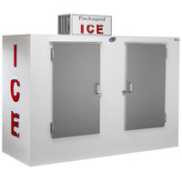Leer 100AS 94 inch Outdoor Auto Defrost Ice Merchandiser with Straight Front and Stainless Steel Doors