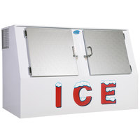 Leer LP462A 73 inch Outdoor Auto Defost Ice Merchandiser with Slanted Front and Stainless Steel Doors