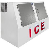 Leer LP462A 73 inch Outdoor Auto Defost Ice Merchandiser with Slanted Front and Stainless Steel Doors