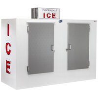 Leer 100CS 94 inch Outdoor Cold Wall Ice Merchandiser with Straight Front and Stainless Steel Doors