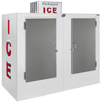 Leer 85AS 84 inch Outdoor Auto Defrost Ice Merchandiser with Straight Front and Stainless Steel Doors