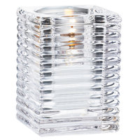 Sterno Products 80142 4 inch Clear Ribbed Kelly Square Liquid Candle Holder
