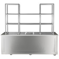 Bon Chef 51014 96 inch x 30 inch x 80 inch Stainless Steel Mobile Back Bar with Glass Shelves