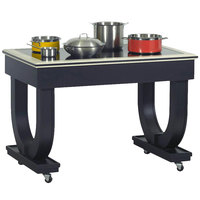 Bon Chef 50075 Deco 48 inch x 30 inch x 36 inch Black Wood Table with 2 Induction Warmers - 120V