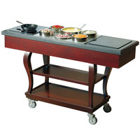 Bon Chef 50064 Traditional 62 inch x 20 inch x 37 inch Mobile Wood Induction Range Cart - 110V