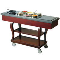 Bon Chef 50065 Traditional 62 inch x 20 inch x 37 inch Mobile Wood Induction Range Cart - 240V