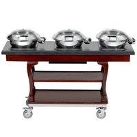 Bon Chef 50063 64 inch x 20 inch x 36 inch x 64 inch x 36 inch Mobile Wood Induction Buffet Table - 110V
