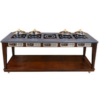 Bon Chef 50120 96 inch x 30 inch x 36 inch Contemporary Wood Buffet with 5 Induction Ranges - 220V