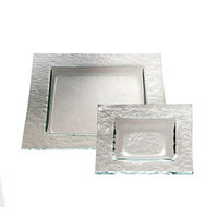 Service Ideas Tuscany Glass Eco-Line 9504 12 1/4 inch Clear Square Plate with Green Tint 6/Case
