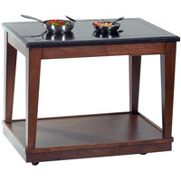 Bon Chef 50073 48 inch x 30 inch x 36 inch Mahogany Station Table with 2 Induction Warmers - 110V