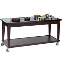 Bon Chef 50069 80 inch x 30 inch x 36 inch Wood Mobile Station with 1 Induction Warmer - 120V