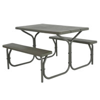 Lifetime 60135 28 inch x 48 inch Rectangular Brown Faux Wood Picnic Table with Attached Benches