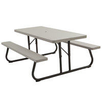 Lifetime 22119 30 inch x 72 inch Rectangular Putty Plastic Folding Picnic Table with Attached Benches