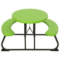 Lifetime 60132 24 13/16 inch x 34 inch Oval Lime Green Plastic Kids Folding Picnic Table with Attached Benches