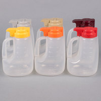 Tablecraft PP48A 48 oz. Assorted Option Dispenser Jar with Colored Top - 6/Pack