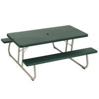 Lifetime 42123 30 inch x 72 inch Rectangular Hunter Green Plastic Folding Picnic Table with Attached Benches - 4/Pack