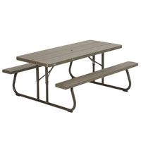 Colors Lifetime 60105 30 Inch X 72 Rectangular Brown Faux Wood Folding Picnic Table With Attached