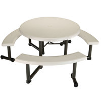 Lifetime 260205 44 inch Round Almond Plastic Picnic Table with Swing-Out Benches
