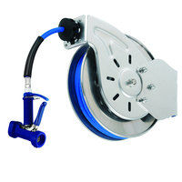 T&S B-7112-05 15' Open Stainless Steel Hose Reel with Front Trigger Water Gun
