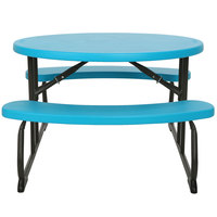 Lifetime 60229 24 13/16 inch x 34 inch Oval Glacier Blue Plastic Kids Folding Picnic Table with Attached Benches