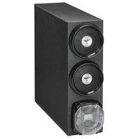 Vollrath H3V-LCC 8-44 oz. Countertop 2 Slot Black Shallow Adjustable Cup Dispenser Cabinet with 1 Lidsaver™ 2 Dispenser