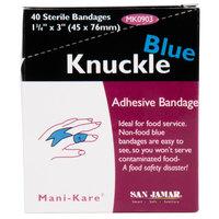 San Jamar MK0903 Mani-Kare 1 3/4 inch x 3 inch Blue Knuckle Bandage   - 240/Case