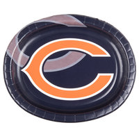 Creative Converting 069506 Chicago Bears 10 inch x 12 inch Oval Paper Platter - 96/Case