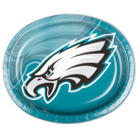 Creative Converting 069524 Philadelphia Eagles 10 inch x 12 inch Oval Paper Platter - 96/Case