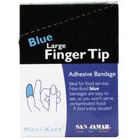 San Jamar MK0904 Mani-Kare 1 3/4 inch x 3 inch Blue Large Fingertip Bandage   - 150/Case