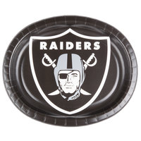 Creative Converting 069523 Oakland Raiders 10 inch x 12 inch Oval Paper Platter - 96/Case