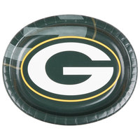 Creative Converting 069512 Green Bay Packers 10 inch x 12 inch Oval Paper Platter - 96/Case