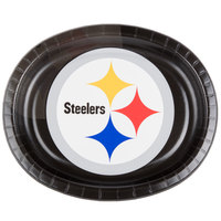 Creative Converting 069525 Pittsburgh Steelers 10 inch x 12 inch Oval Paper Platter - 96/Case