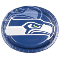 Creative Converting 069528 Seattle Seahawks 10 inch x 12 inch Oval Paper Platter - 96/Case