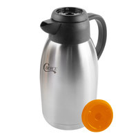 Choice 1.9 Liter Insulated Thermal Coffee Carafe / Server with Regular and Decaf Brew Thru Lids - 10 3/4 inch x 5 1/4 inch