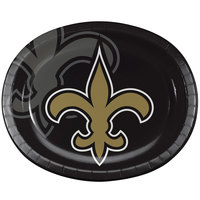 Creative Converting 069520 New Orleans Saints 10 inch x 12 inch Oval Paper Platter - 96/Case