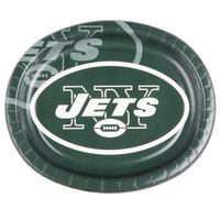 Creative Converting 069522 New York Jets 10 inch x 12 inch Oval Paper Platter - 96/Case