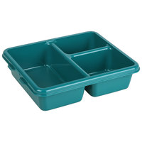 Cambro 9113CW414 Camwear Teal 9 inch x 11 inch 3 Compartment Meal Delivery Tray - 24/Case
