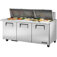 True TSSU-72-30MB-ST-HC 72 inch ADA Compliant 3 Door Mega Top Refrigerated Sandwich Prep Table