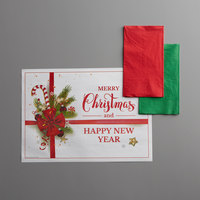 Hoffmaster 856795 10 inch x 14 inch Ornaments Placemat Combo Pack   - 250/Case