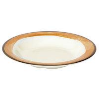 GET B-139-DI-KNO Kanello 13 oz. Diamond Ivory Wide Rim Melamine Bowl with Kanello Orange Edge - 24/Case